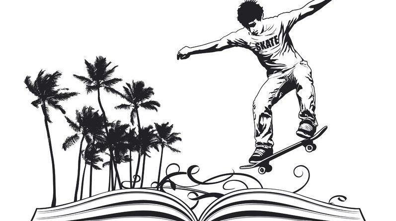Cartoon of young man on a skateboard over a book
