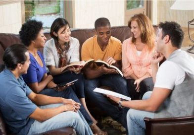 Group of people doing Bible study