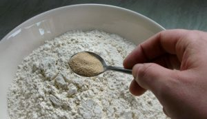 Yeast added to flour